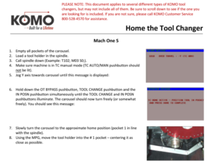 Home the Tool Changer
