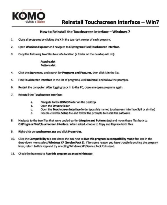 Reinstall Touchscreen Interface – Win7