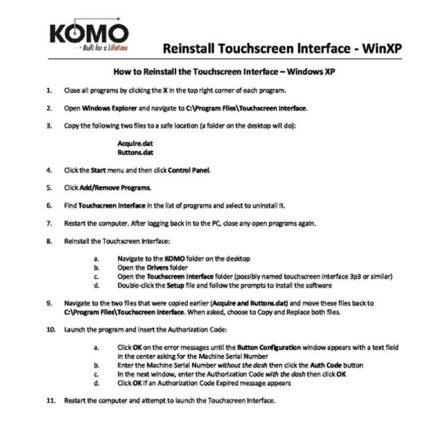 Reinstall Touchscreen Interface – WinXP