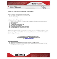 KOMO PC Upgrade for KOMO Machine and use in CNC Machining Centers