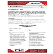 Preventive Maintenance Contract for Service from KOMO Machine for CNC Machining Centers